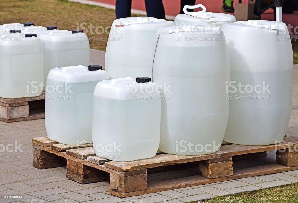 Plastic barrels stock photo