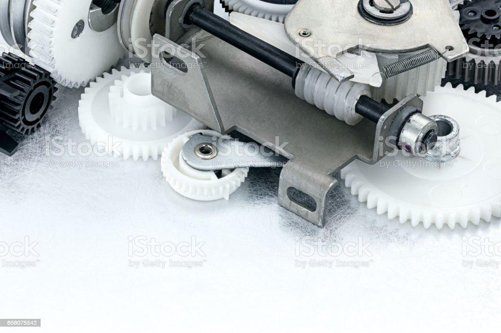 plastic black and white cogwheels for industrial equipment stock photo