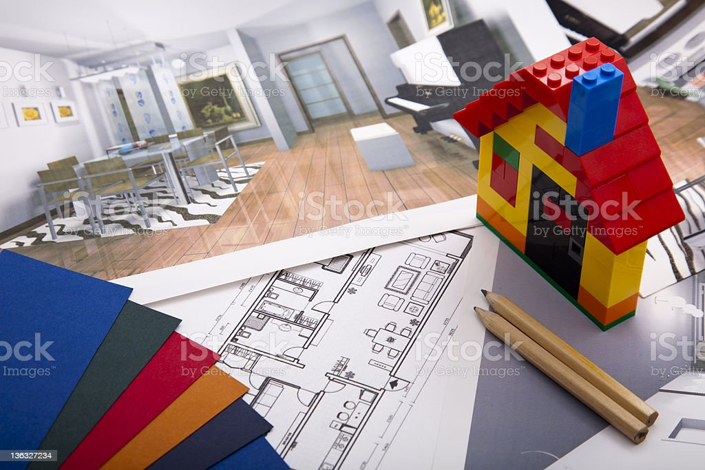 A Lego house and plans for home improvement royalty-free stock photo