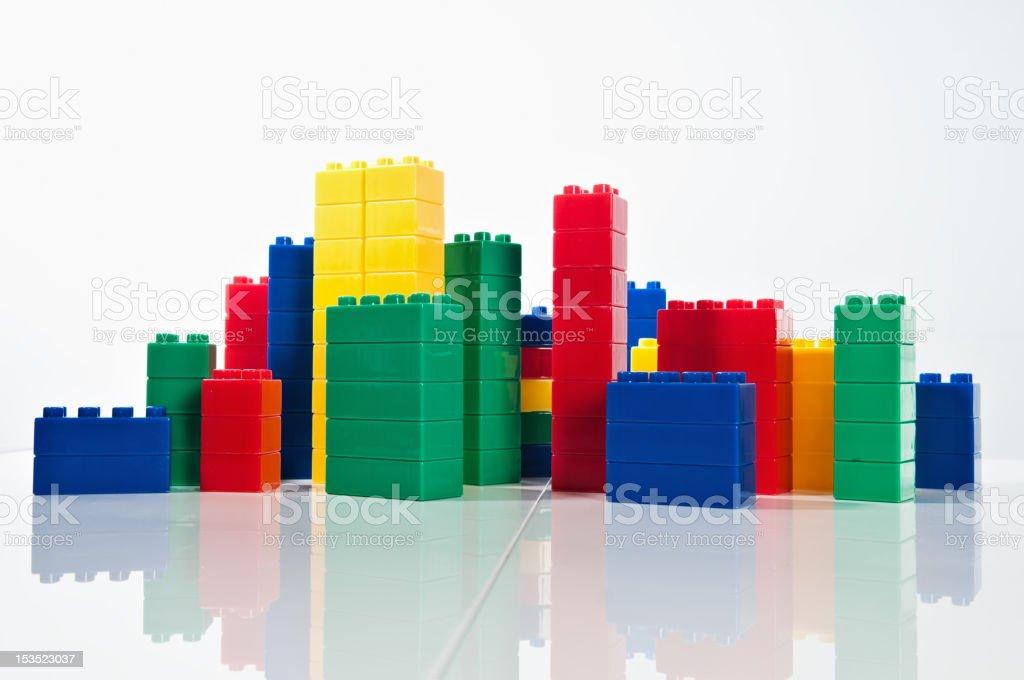 Plastic blocks simulating skyline stock photo