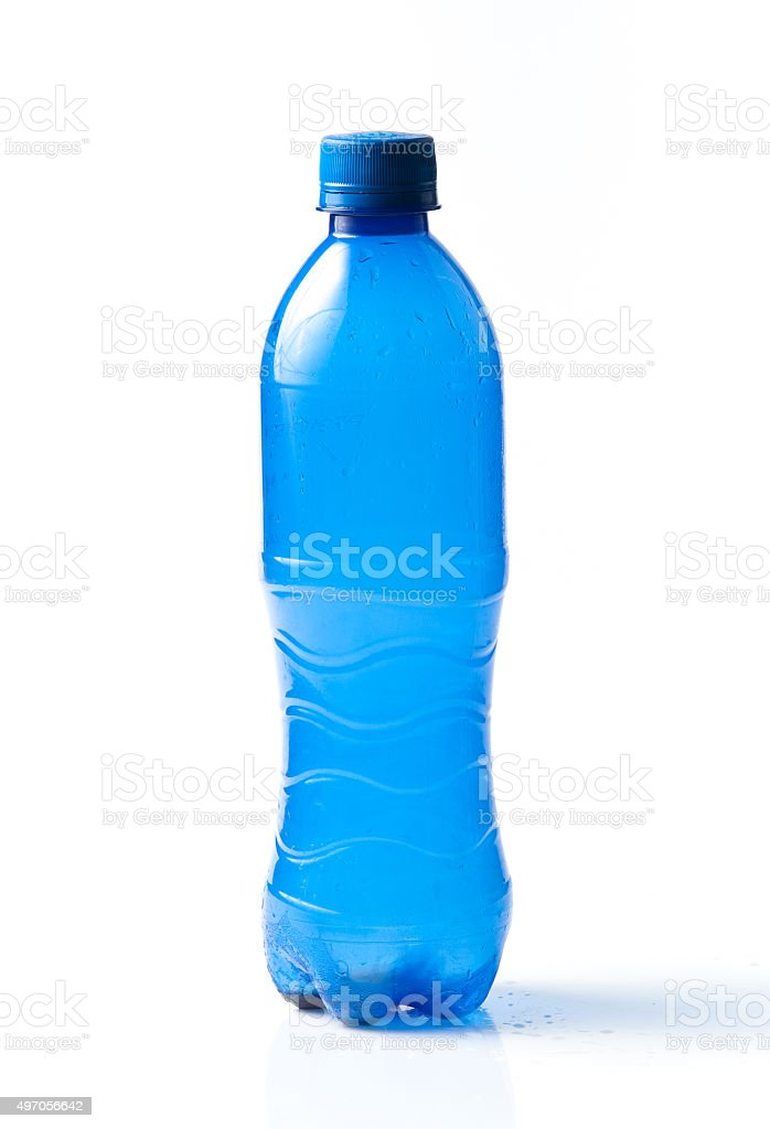 Plastic blue bottle of a drinking water stock photo