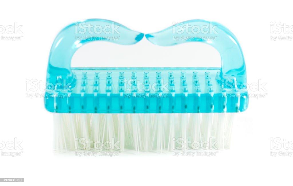 Plastic blue nail brush stock photo
