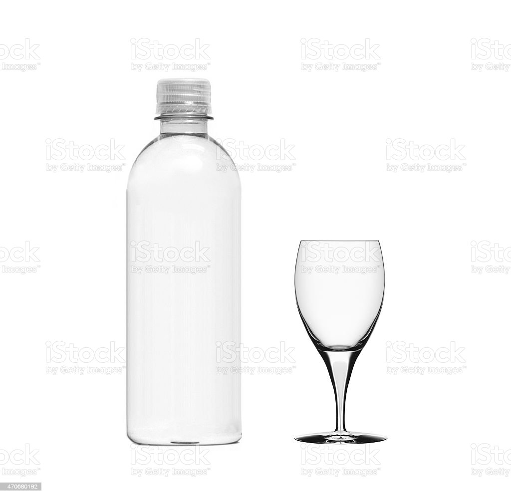 plastic bottle and empty glass stock photo