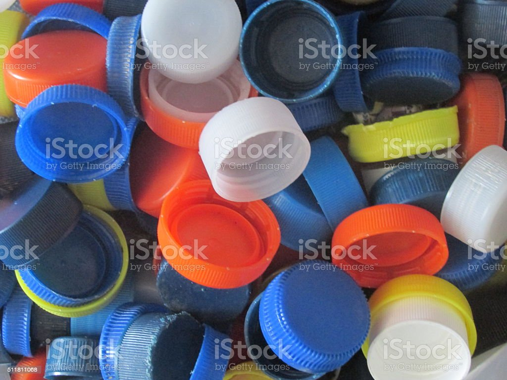 Plastic bottle caps stock photo