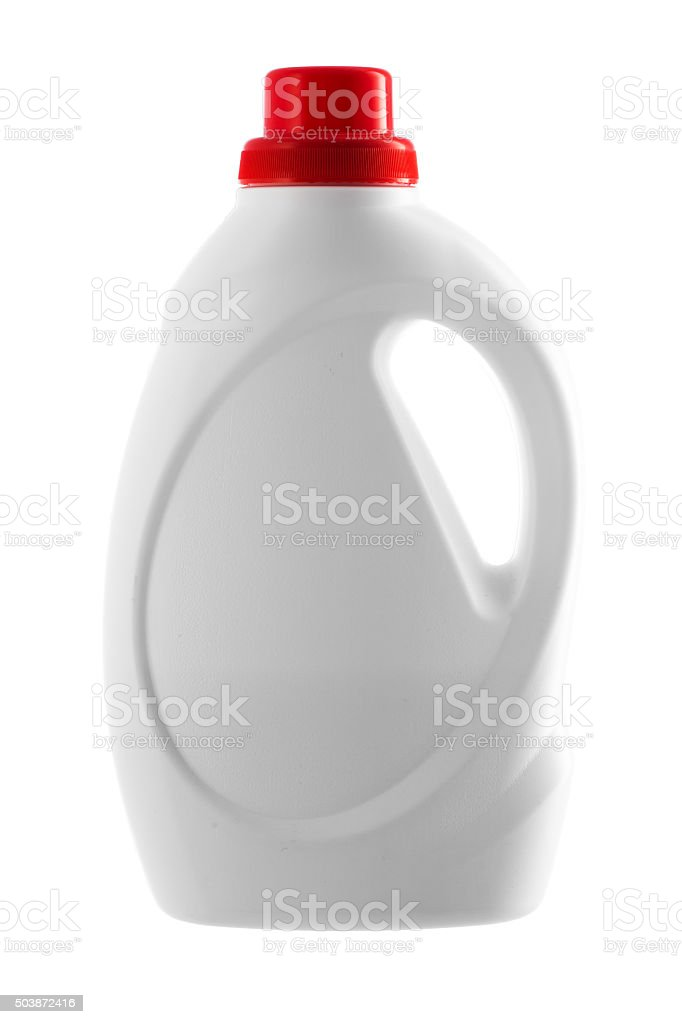 Plastic bottle of a washing detergent isolated on white stock photo