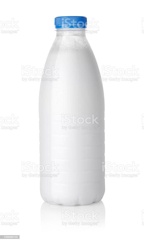 Plastic bottle of milk Path stock photo