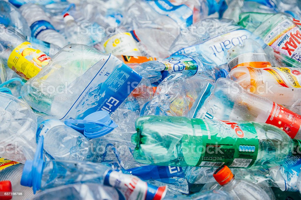 Plastic bottle recycling stock photo