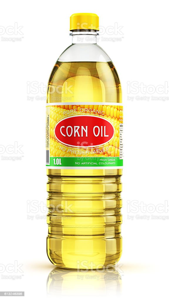 Plastic bottle with corn oil stock photo