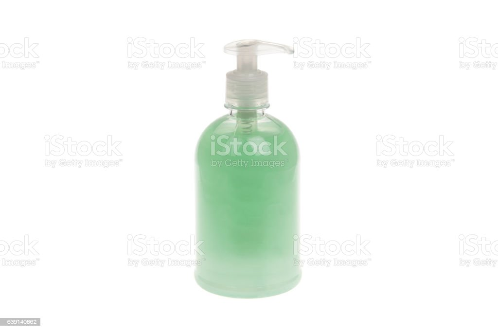 Plastic Bottle with liquid soap, isolated on white stock photo