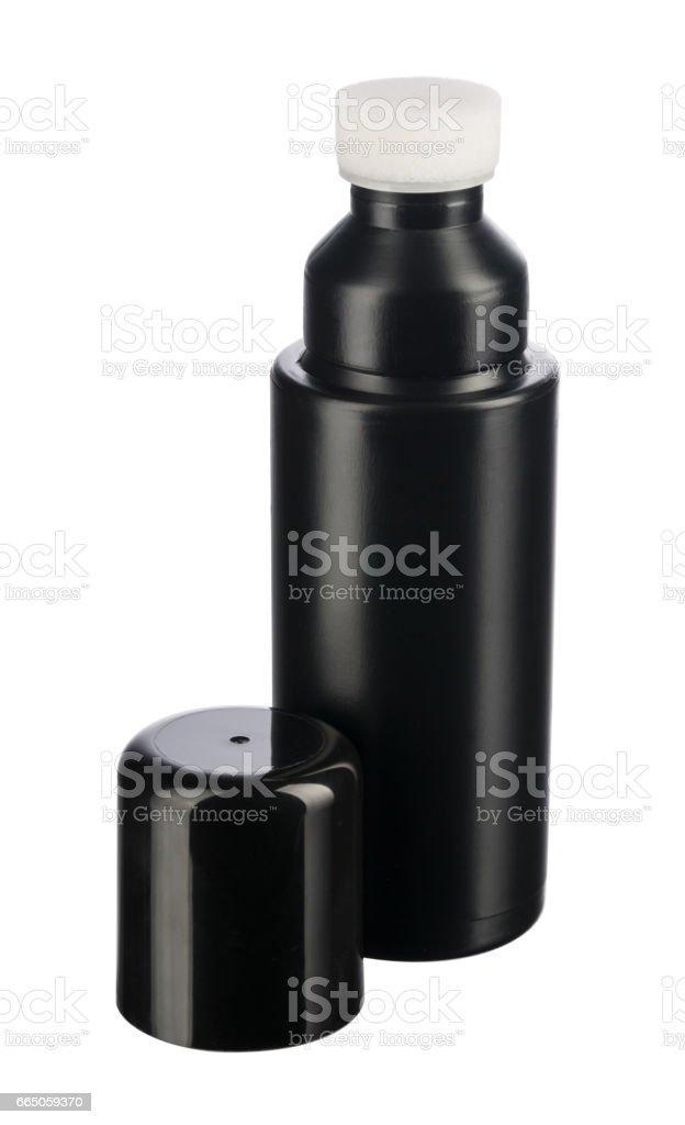Plastic bottle with shoe sponge isolated on white background stock photo