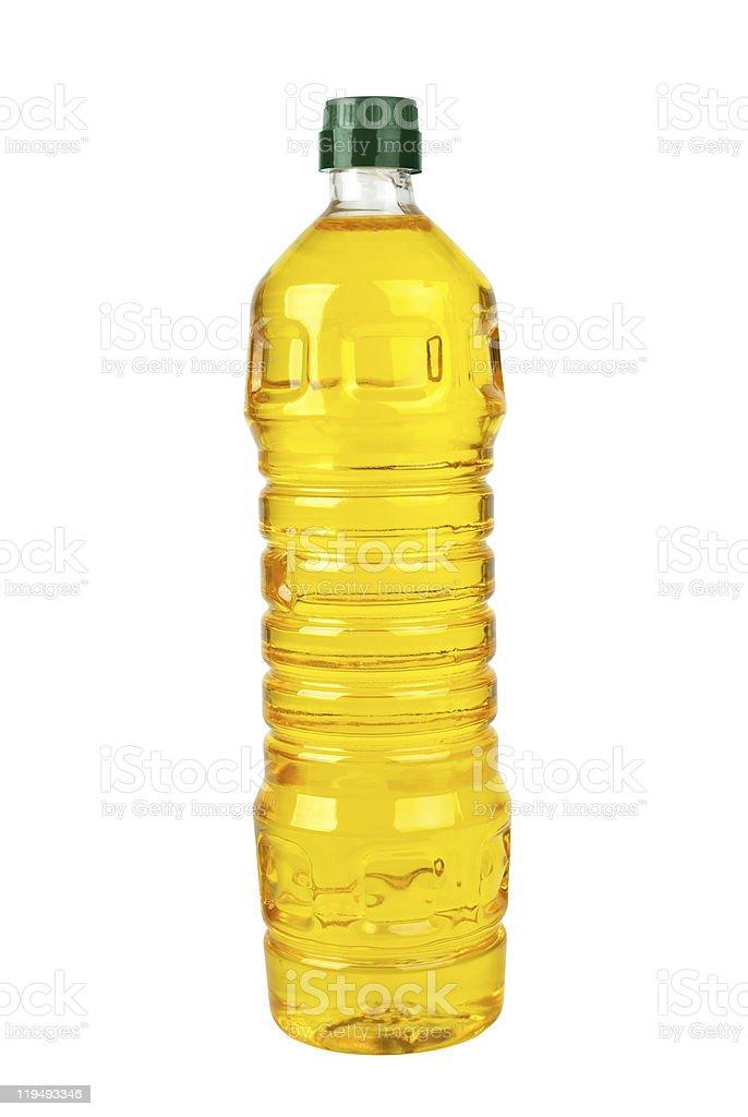 Frasco de plástico com girassol (ou de óleo de oliva) Milho foto de stock royalty-free