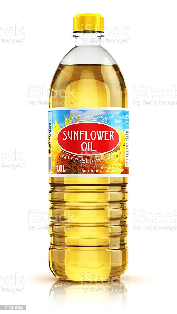Plastic bottle with sunflower seed oil stock photo