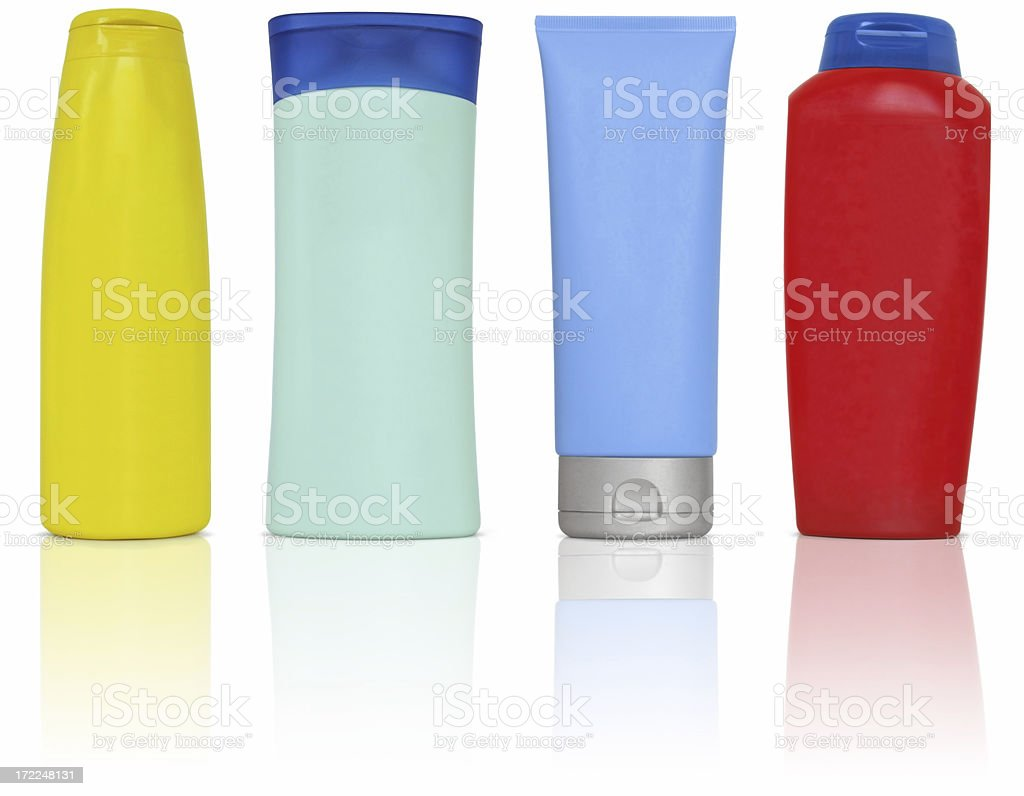 Plastic bottles and containers for cosmetics stock photo