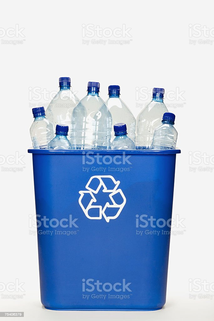 Plastic bottles for recycling stock photo