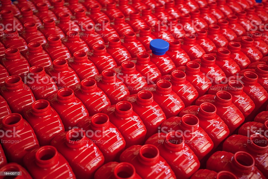 Plastic bottles in food factory stock photo