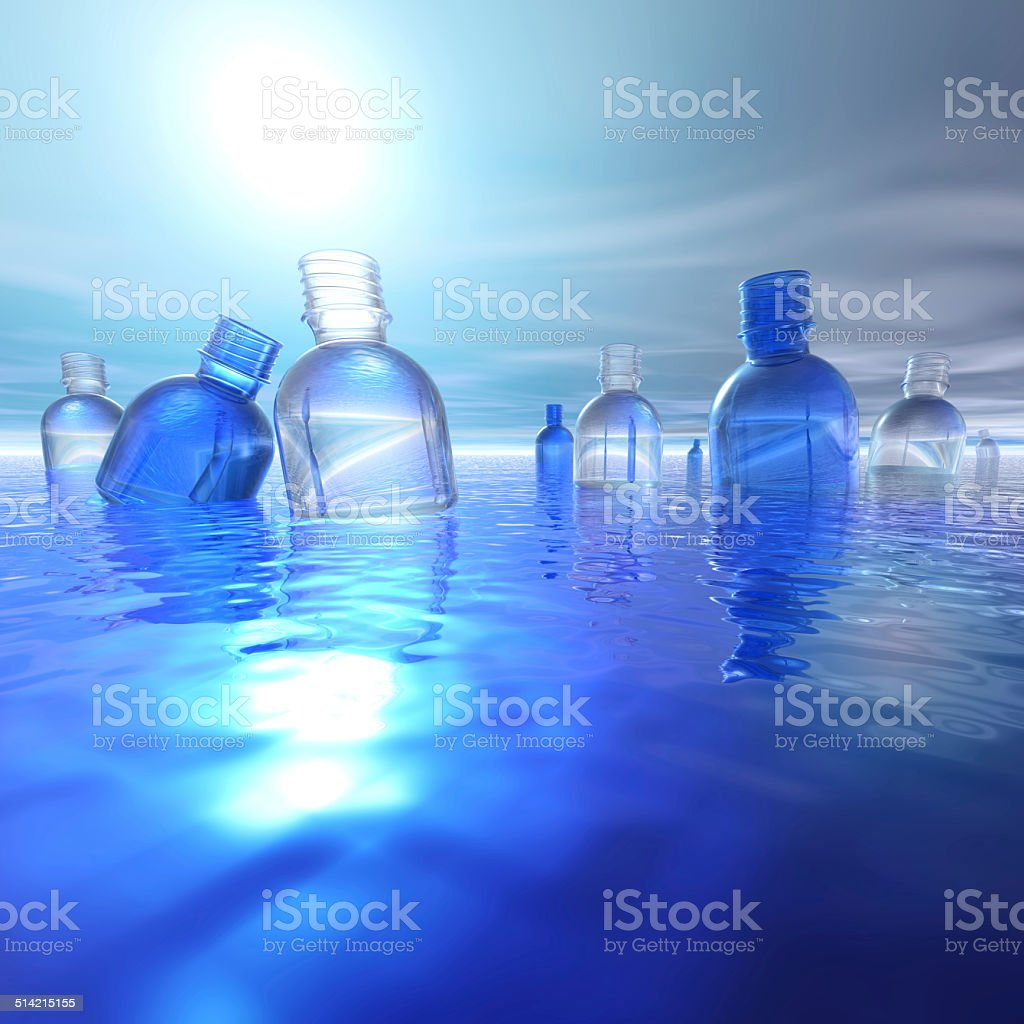 Plastic bottles in water backlight stock photo