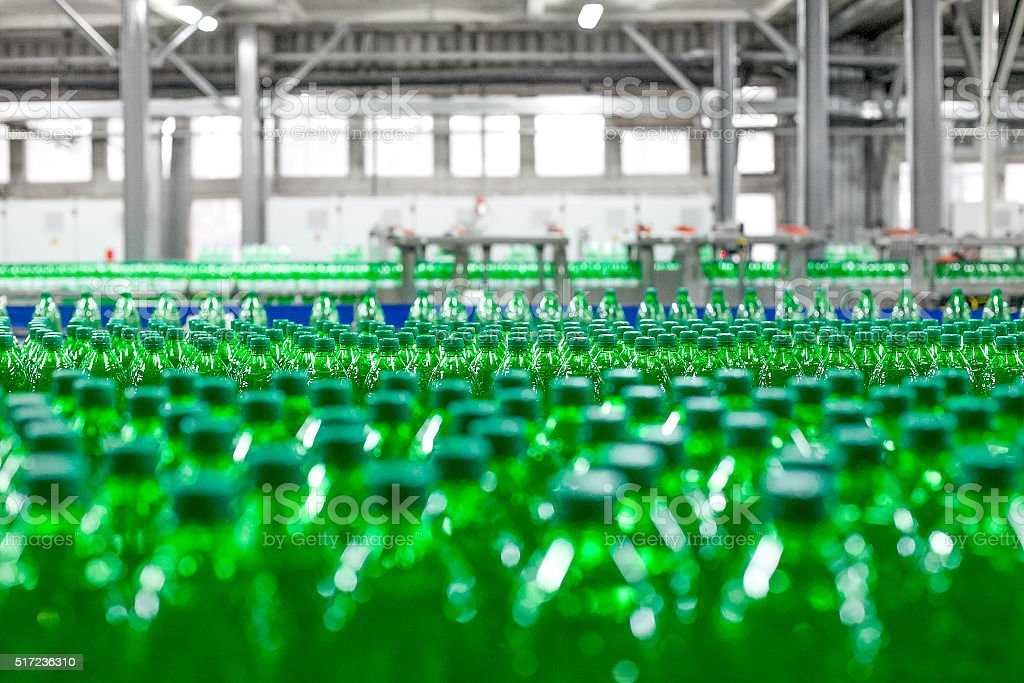 Plastic  bottles on factory line stock photo