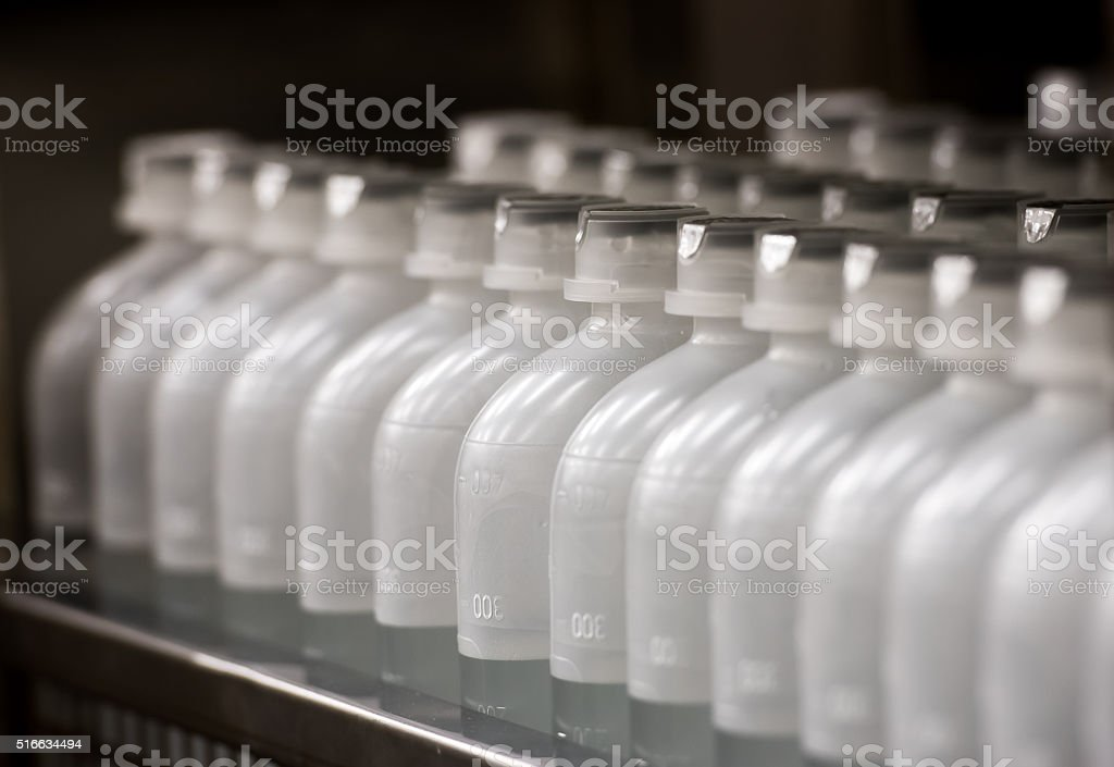 Plastic bottles with a drug stock photo