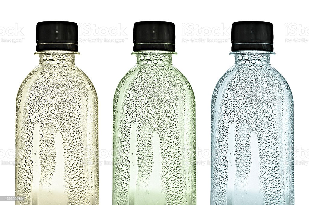 Plastic bottles with water drops on the skins stock photo