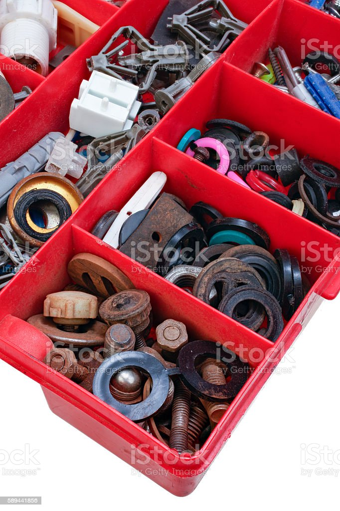 Plastic box for small ironware and plumbing stuff isolated stock photo