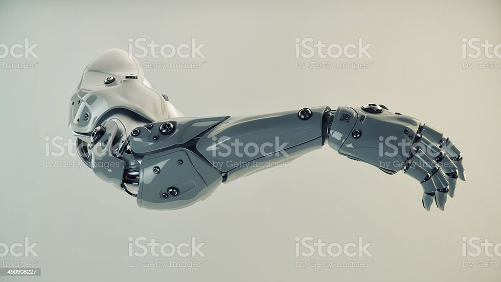 Plastic brawny cyber arm stock photo