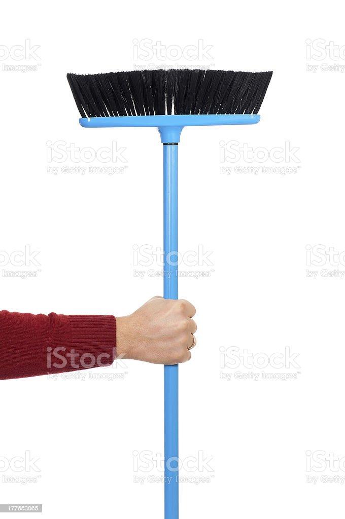 Plastic broom stock photo