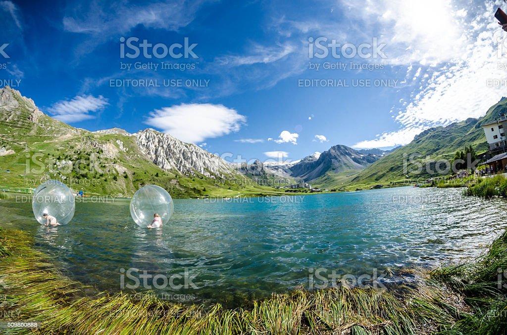 Plastic Bubbles on Lac Tignes in France stock photo