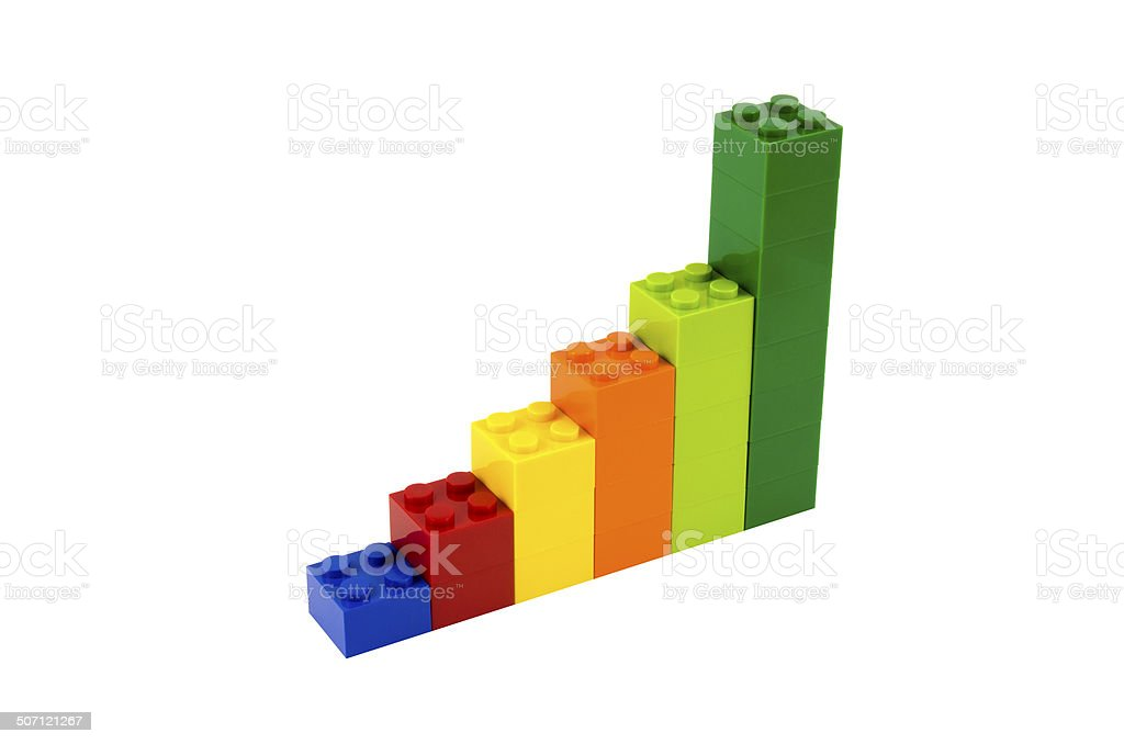 Plastic building blocks isolated on white background stock photo