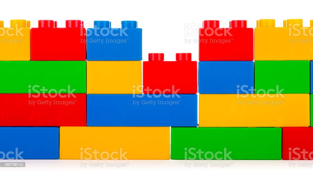 Plastic building blocks stock photo