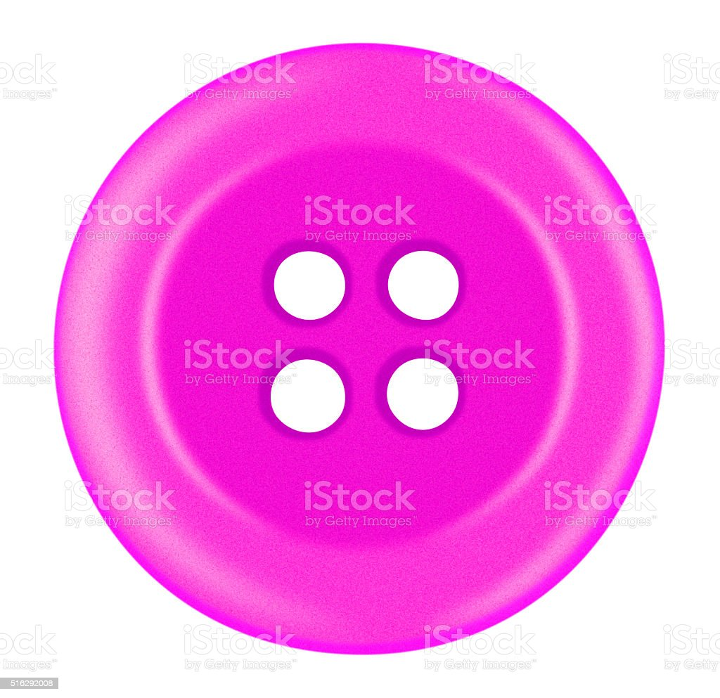 Plastic button isolated - pink stock photo