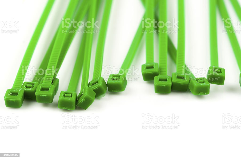Plastic cable ties on a white background stock photo