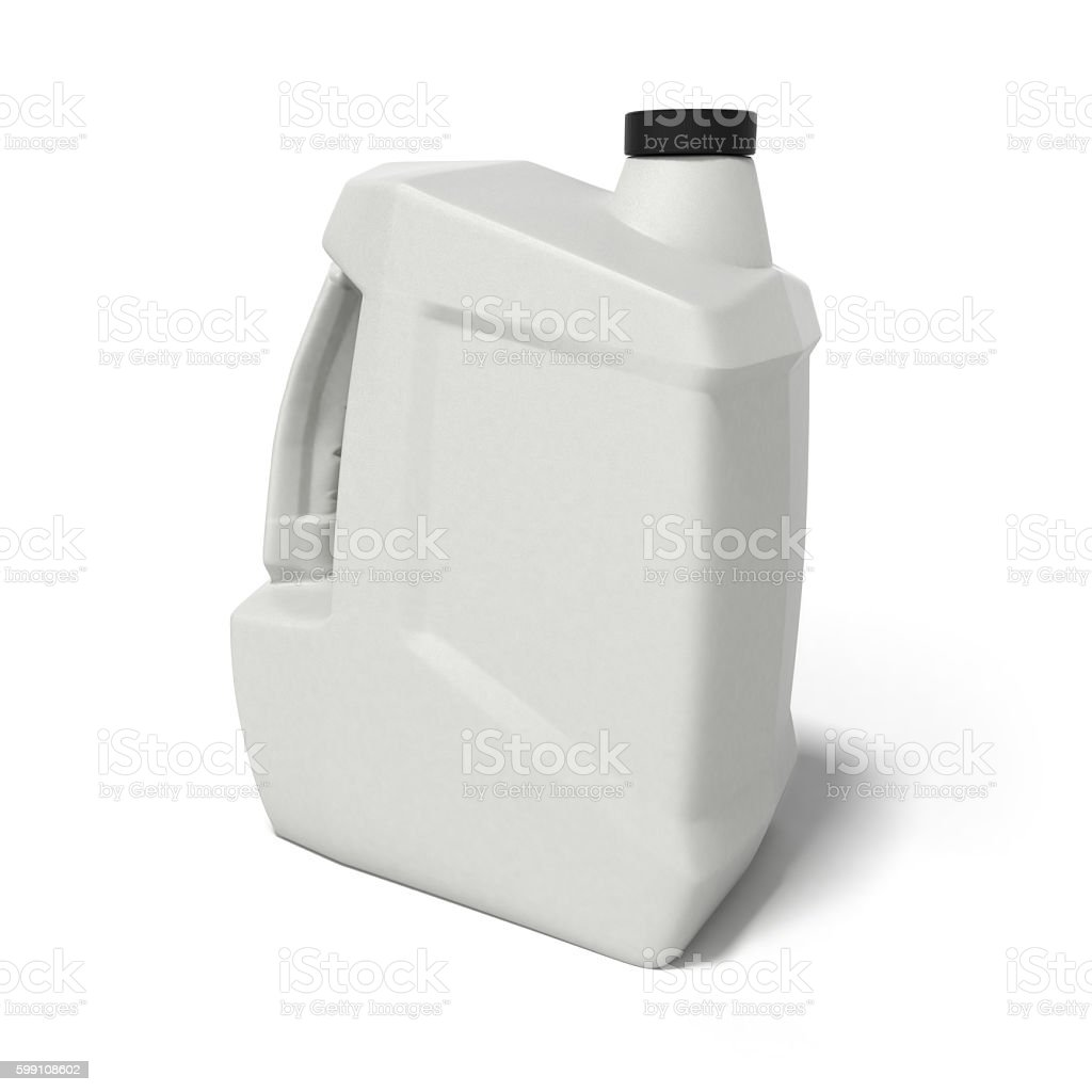 plastic canister for motor oil 3d render isolated on white stock photo