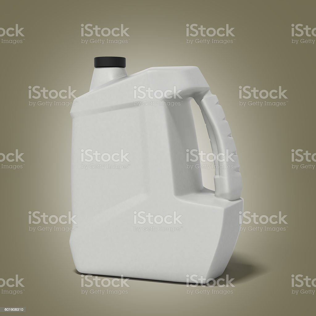 plastic canister for motor oil 3d render on gradient background stock photo