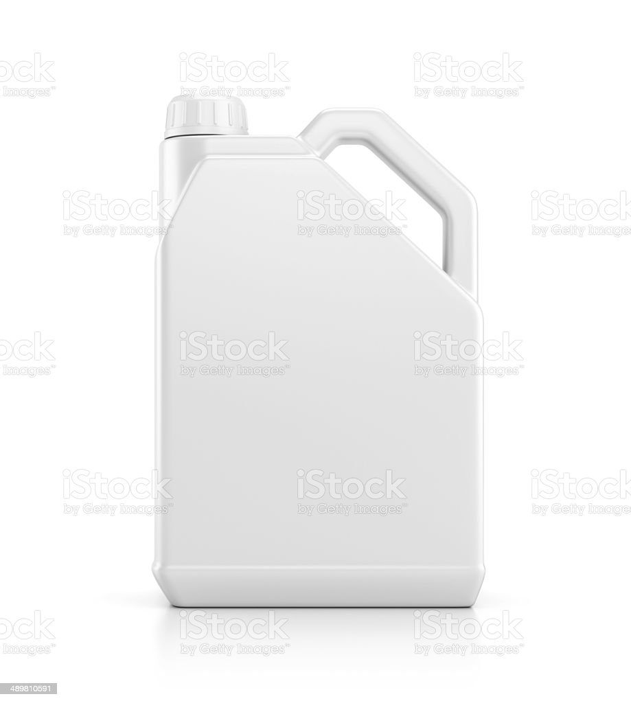 Plastic canister isolated on white stock photo