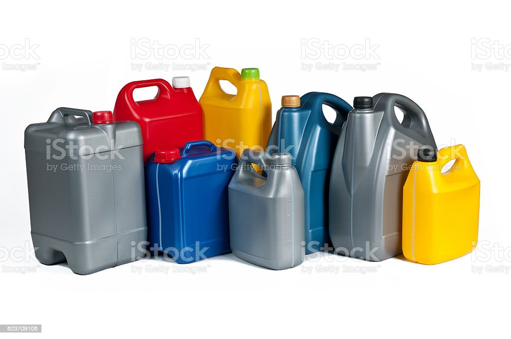 Plastic canisters for machine oil stock photo