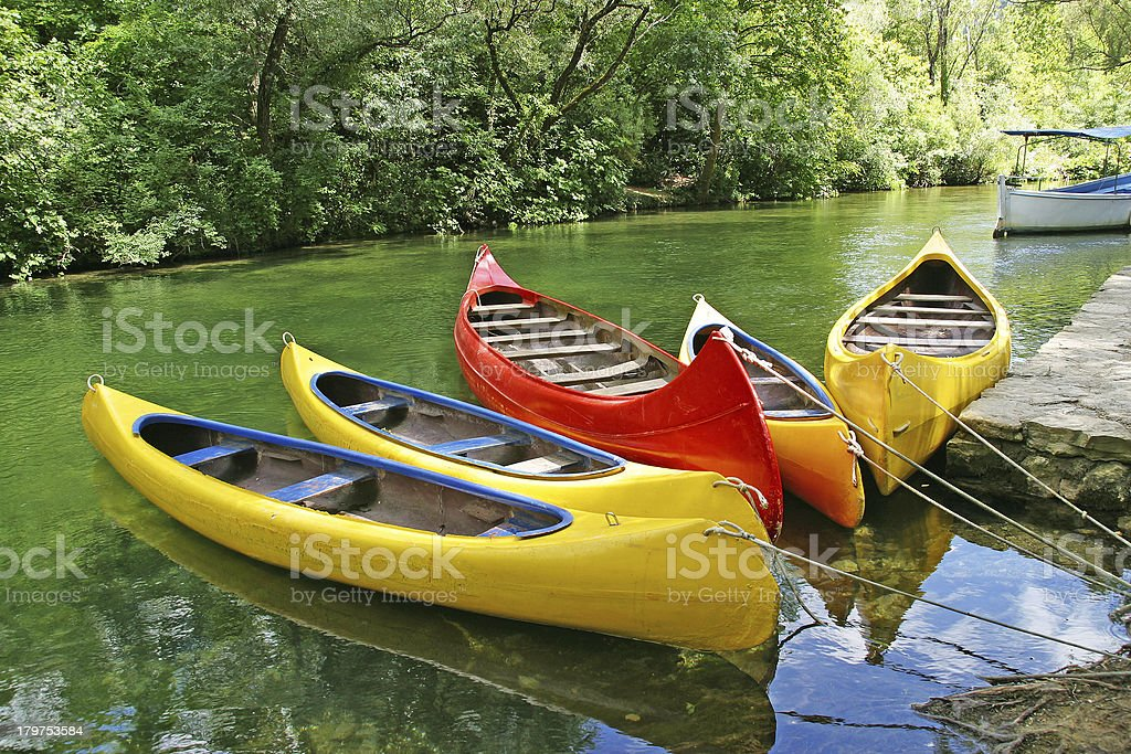 plastic canoes royalty-free stock photo