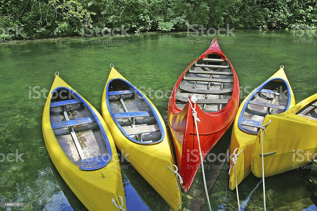 plastic canoes royalty-free stock photo