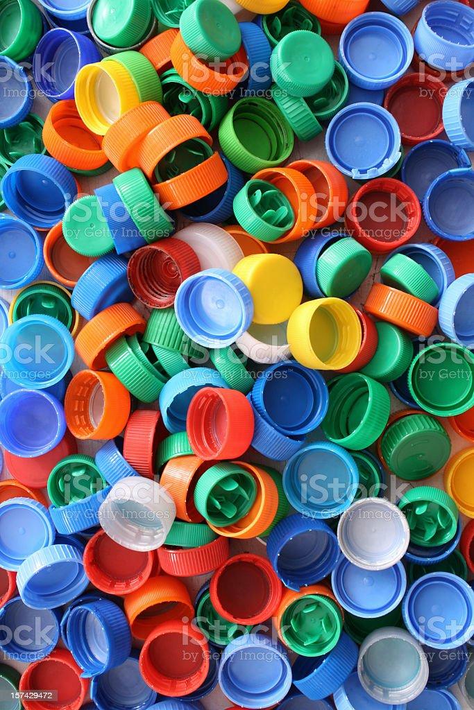 Plastic caps background stock photo