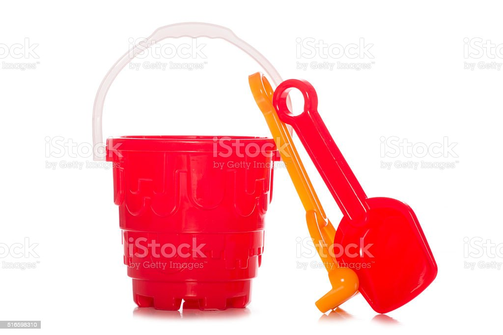 plastic childrens bucket and spade stock photo
