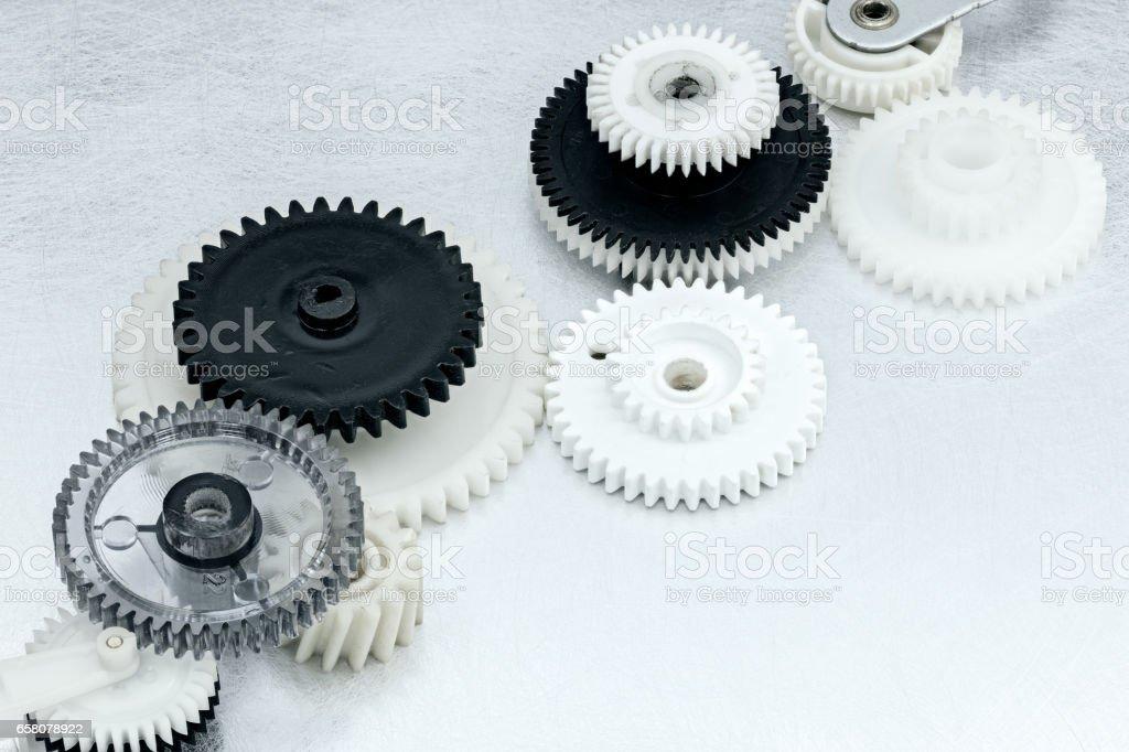 plastic cogwheels for industrial equipment. machinery details. stock photo