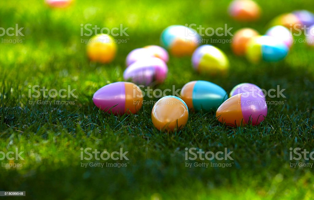 Plastic Colored Easter Eggs stock photo