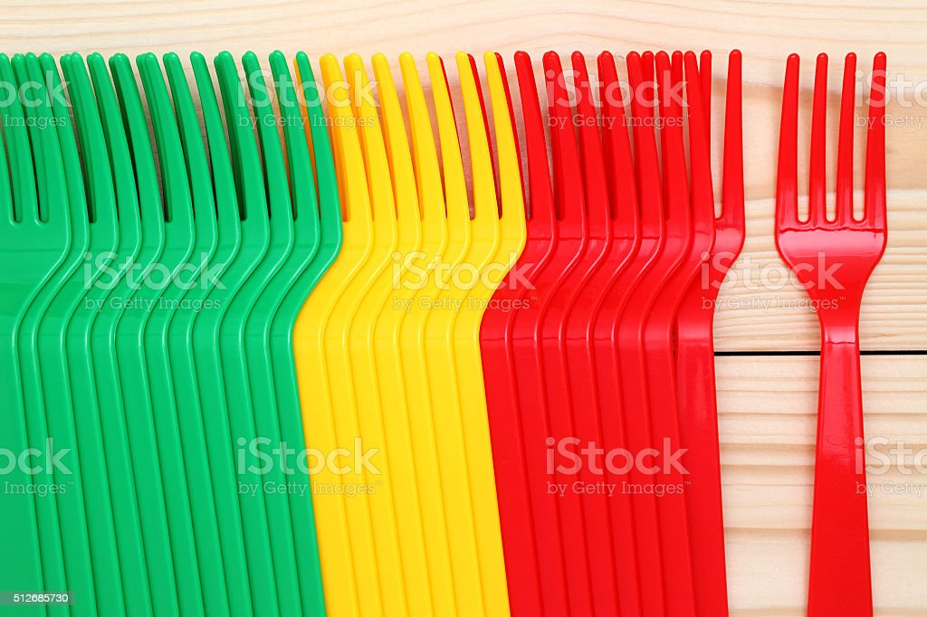 plastic colorful forks stock photo