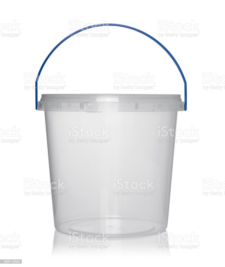 Plastic container for foodstuffs. stock photo