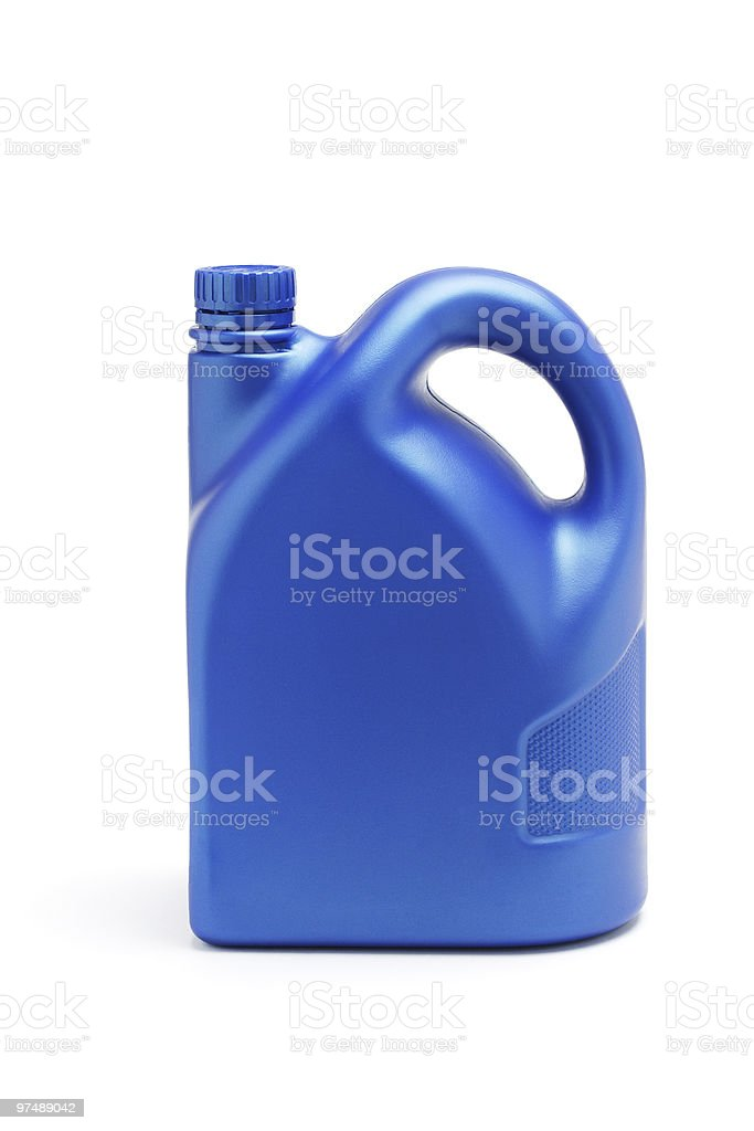 Plastic container of lubrication oil stock photo