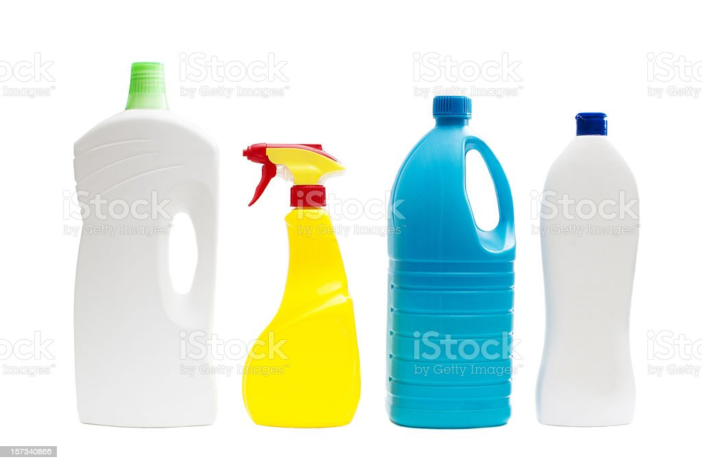 Plastic containers of cleaning products stock photo