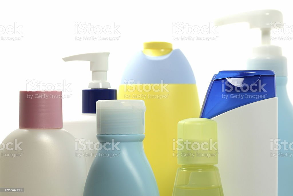 Plastic Cosmetic Bottles royalty-free stock photo