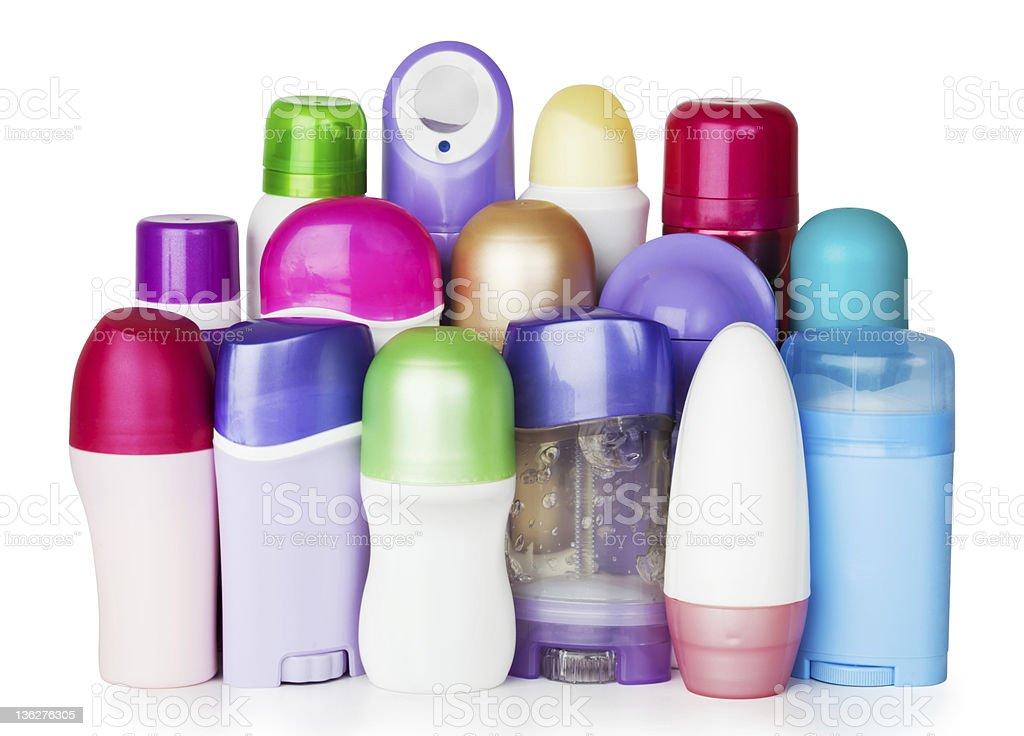 Plastic cosmetics bottles on white background stock photo