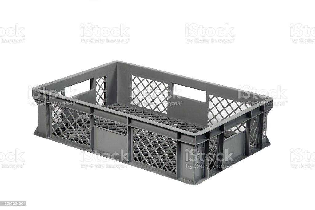plastic crate grey b stock photo