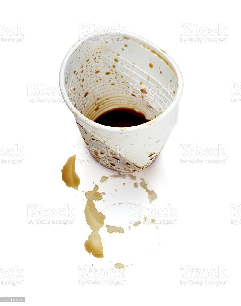 plastic cup of coffee dring beverage food office spilled messy stock photo