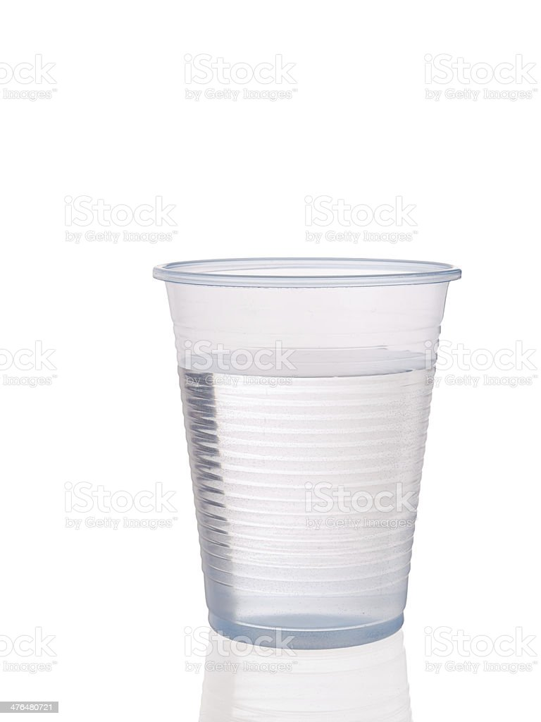 Plastic cup of water stock photo
